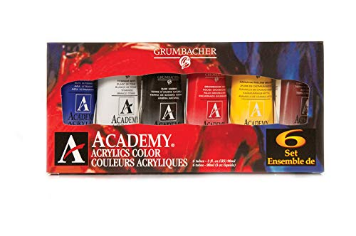 (GRUMBACHER Academy Acrylic Paint, 90ml/3 oz Metal Tube, 6-Color Mixing Set (C1026))