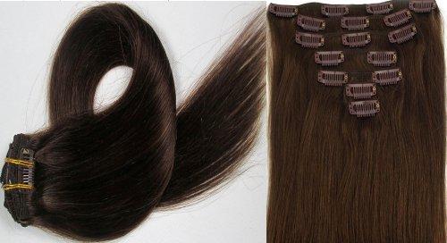 World Pride Модные прямой зажим в наращивание волос 15 дюймов 70 грамм № 4 Chocolate Brown