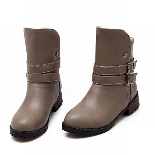Carolbar Womens Fashion Retro Vintage Simple Buckles Low Heel Short Boots Grey Wt2JxNo5I2