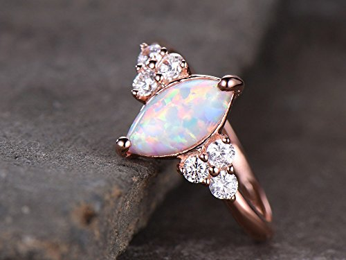 Opal Engagement Ring 925 Sterling Silver Rose Gold Plated CZ Cluster Antique Anniversary Gift Promise by Milejewel Opal Engagement Ring (Image #3)