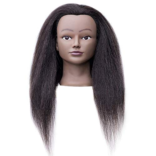 Afro Mannequin Head Hairdresser Training Head Manikin Cosmetology Doll Head 100% 22-24inches Real Hair with Clamp(2#)