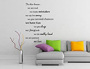 (42x60 Cm) Vinyl Wall Decal Quote In This House We Do And Are Family, We  Love / Inspirational Text Art Decor Home Sticker + Free Random Decal Gift!