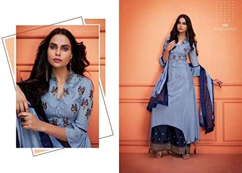 Blu Pronto da indossare Maslin Kurta Palazzo XL Taglia indiano etnico Bollywood Ricamo pesante 8418