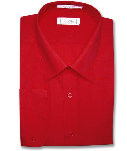 - Covona Men's Solid Red Color Dress Shirt w/Convertible Cuffs sz 15 1/2 32/33