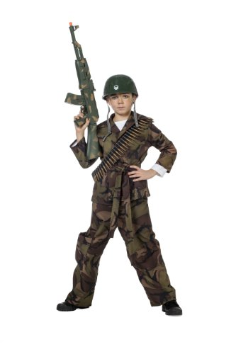SOLDIER GREEN BOYS ARMY COMMANDO KIDS FANCY DRESS PARTY OUTFIT HALLOWEEN COSTUME
