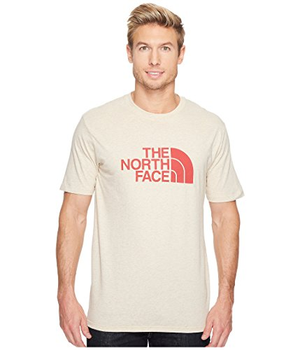 The North Face Men's Short Sleeve 1/2 Dome Tee TNF Oatmeal Heather/Ketchup Red (Prior Season) Large