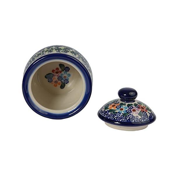 Traditional Polish Pottery, Handcrafted Ceramic Lidded Sugar Bowl with a Spoon Slot (290ml / 10 fl oz), Boleslawiec Style Pattern, C.102.DAISY