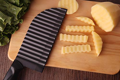 LALI Garnishing Knife French Fry Cutter Crinkle Potato Slicer Stainless Steel Potato Dough Waves Crinkle Cutter Slicer, Home Kitchen Vegetable Chip Blade Cooking Tools (Corrugated blade-Large size) by LRWH (Image #1)