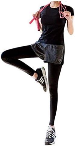 (ファースト)FAST 上下セット Tシャツ ヨガウェア ショートパンツ 付き ロングタイツ レギンス 吸汗速乾 ダンス 体操 ランニング フィットネス ジム トレーニング ウェア スパッツ 一体型 プレミアム パンツ