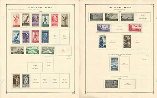 Italian East Africa Stamp Collection 1938 on 2 Scott International Pages