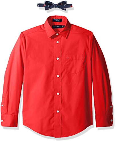 Nautica Boys' Big Long Sleeve Dress Shirt With Bow Tie, Rouge, 14