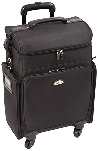 Craft Accents Soft-Sided Professional 4-Wheels Carry-On Rolling Makeup Case, All Black, 256 Ounce