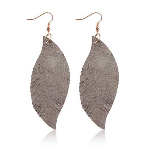 Bohemian Genuine Suede Real Leather Geometric Drop Earrings - Lightweight Hook Dangles Feather, Leaf, Angel Wing (Bohemian Feather - Gray)