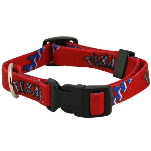 MLB Texas Rangers Red Adjustable Pet Collar (Small)