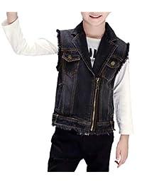 HomeToy Boy Zipper Black Denim Vest Children's Sleeveless Jean Coat