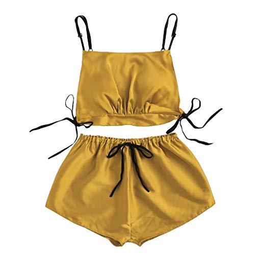 Benficial Women Satin Silk Bowknot Camisole Shorts Set Sleepwear Pajamas Bandage Lingerie Yellow