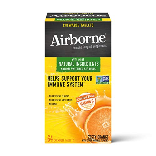 Vitamin C 1000mg (per serving) – Airborne Zesty Orange Chewable Tablets (64 count in a box), Gluten-Free Immune Support Supplement and High in Antioxidants