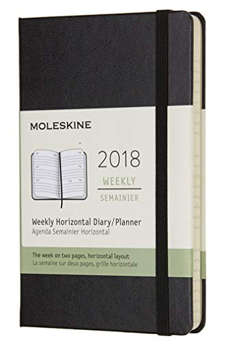 (Moleskine 12 Month Weekly Horizontal Planner, Pocket, Black, Hard Cover (3.5 x)