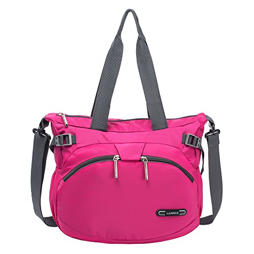 R LANDTO Lightweight Crossbody Shoulder Bag Waterproof Nylon Gym Handbags Casual Messenger Bag for Women(Rose Red) by R LANDTO