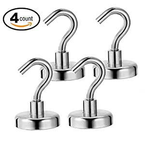 Ninth Five 25lb Magnetic Hooks,Strong Powerful Heavy Duty Neodymium Magnet Hook - Best for Your Refrigerator and Other Magnetic Surfaces(4 Pack)