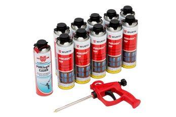 10 x Pistola de espuma 1 K Surtido/Set con espuma de poliuretano limpiador de espuma y pistola: Amazon.es: Bricolaje y herramientas