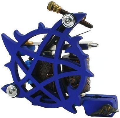 Pentagram azul Detalle lineal tatuaje ametralladora de bobina de ...