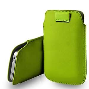 Sony Xperia E De cuero verde Tire Tab caso de la cubierta de la bolsa + paño de pulido
