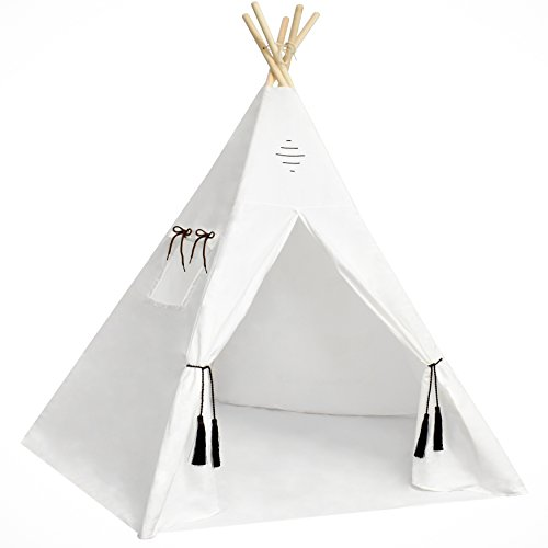 Kids Teepee Tent - Large 6 Feet Tipi with a Floor, Five Poles, Window & Carrying Bag. Foldable Children's Playhouse for Indoor or Outdoor Play. Popular Boys & Girls Gift For Thanksgiving & Christmas. by Nature's Blossom (Image #1)