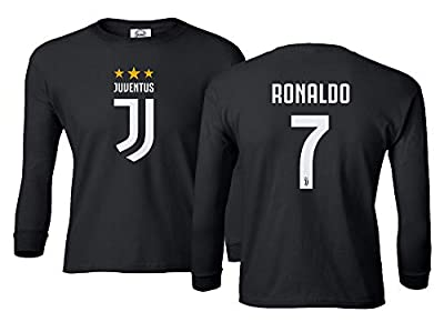 Spark Apparel Soccer Shirt #7 Cristiano Ronaldo CR7 Boys Girls Youth Long Sleeve T-Shirt