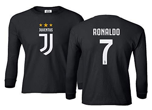 Spark Apparel Soccer Shirt #7 Cristiano Ronaldo Juve CR7 Boys Girls Youth Long Sleeve T-Shirt (Black, Youth Medium)