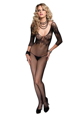 Leg Avenue Women's Fishnet Quarter Sleeve Bodystocking With Floral Lace Bodice, Black, One Size