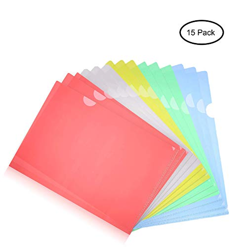 Clear Document Folder, A4 Size, Set of 15 in 5 Assorted Colors, Yellow, Green, Blue, White, Red, Plastic Paper Jacket Sleeves and Scratch Resistant Paper Holders Organizer (W 8.7 X L 12.2 inches)