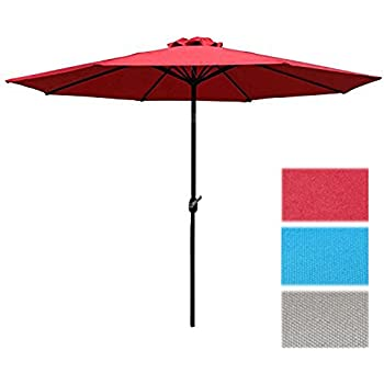 Sunnyglade 9u0027 Patio Umbrella Outdoor Table Umbrella With 8 Sturdy Ribs ...