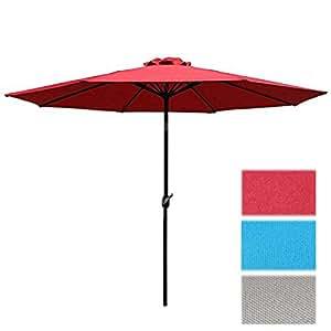 Sunnyglade 9 39 Patio Umbrella Outdoor Table Umbrella Red Patio Lawn Garden