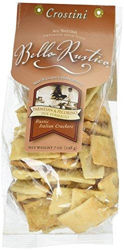 Bello Rustica Crostini, Parmesan & Pecorino Rustic Italian Crackers, 7-Ounce Bags (Pack of 12)