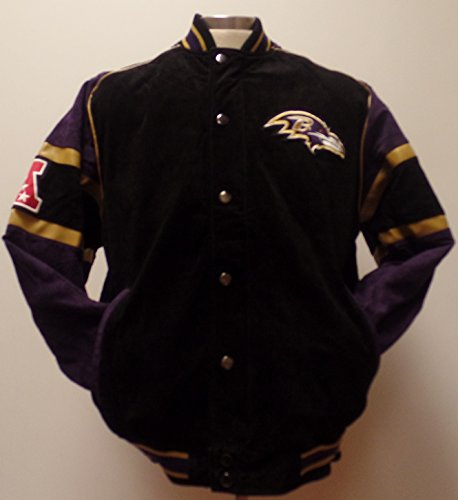 メンズNFL Baltimore Ravensスエードフルジップ/ button-up Varsityジャケット