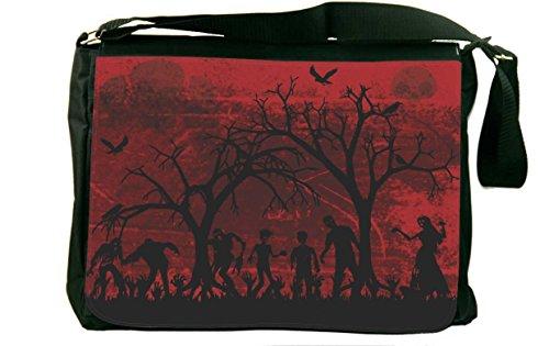 Rikki Knight Silhouette Zombies on Skull Grunge Background Design Messenger Bag - Shoulder Bag - School Bag for School or Work ()