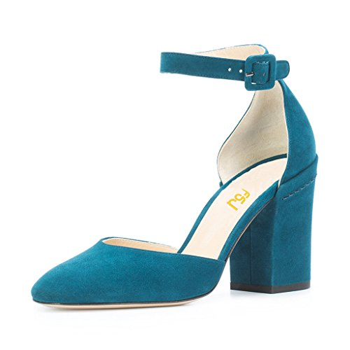 FSJ Women Ankle Strap D'Orsay Pumps Retro Round Toe Faux Suede Chunky Heels Sandals Size 8 Teal