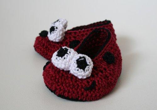 Crochet pattern ladybug baby booties