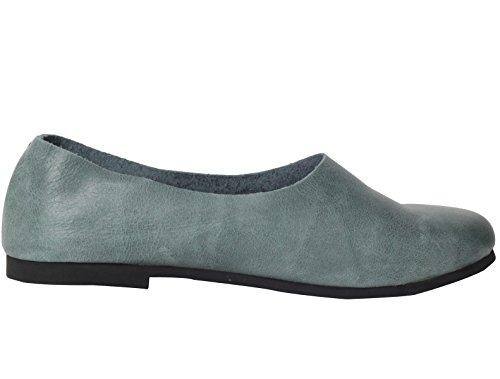Vogstyle Mujeres Cuero Zapatos Holgazanes Slip-Ons Verde