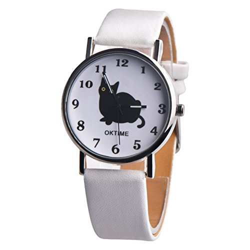 Wintefei Fashion Cartoon Cat Pattern Faux Leather Band Quartz Unisex Wrist Watch Gift - White (White Leather Quartz)