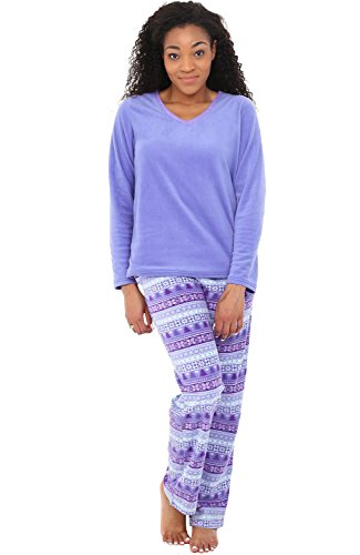 - Alexander Del Rossa Women's Warm Fleece Pajamas, Long V Neck Pj Set, Small Purple Nordic Christmas (A0325Q62SM)