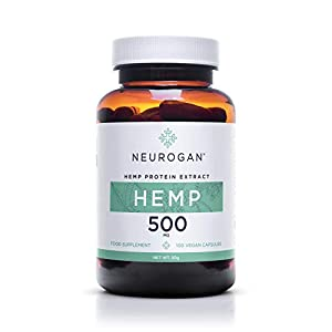 Neurogan Enriched Hemp Capsules, 500 mg, Organic, Sleep Aid, Anti Anxiety and Inflammation