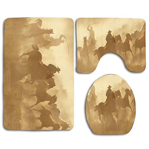 YGUII Galloping Running Horses in Desert Two Cowboys Roping Dusty Wild Rural Countryside 3pcs Set Rugs Skidproof Toilet Seat Cover Bath Mat Lid Cover Cushions Pads