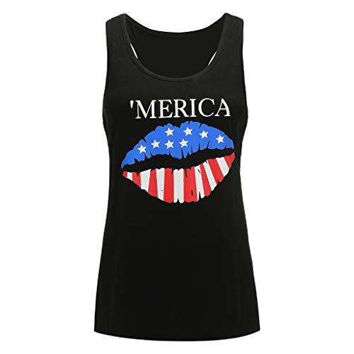 - Women Fashion Cotton Blend July 4 Sleeveless Shirt American Flag Lips Printing Tank Top Casual T-Shirt Blouse Vacation Beach Tops (Black, L)