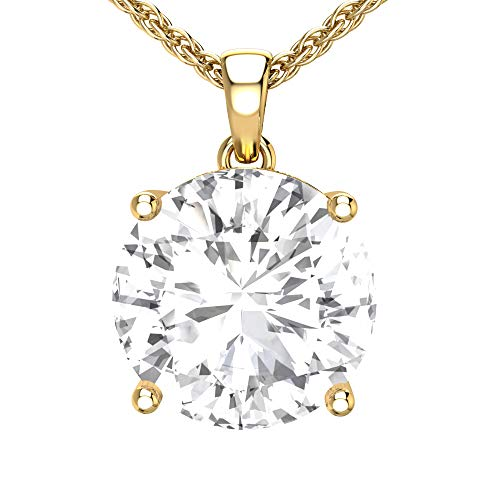 Belinda Jewelz 14k Rhodium Plated Yellow Gold Round Gemstone Sparkling Rope Chain Sterling Silver Birthstone Fine Jewelry Classic Womens Hang Pendant Necklace, 3.8 Carat White Topaz, 18 Inch