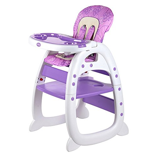 Evezo 2 in 1 High Chair Desk, Purple 2in 1 Convertible High Chair