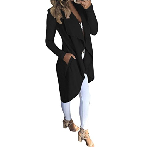 2017 NEW!Napoo Women Solid Drape Open Front Cardigan Trench Coat with Pocket (S, Black)