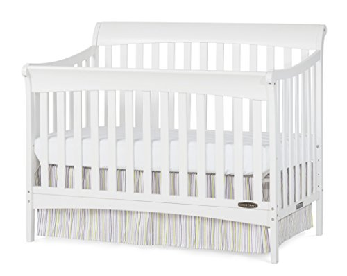 Crib 1 Sleigh (Child Craft Coventry 4-In-1 Convertible Full-Size Crib, Matte White)