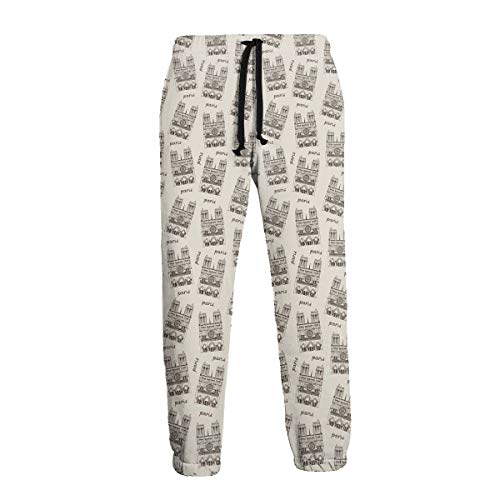 Mens Sweatpants Notre Dame De Paris Cathedral, France Joggers Pants with Pockets Slim Fit Running Trousers with Drawstring White